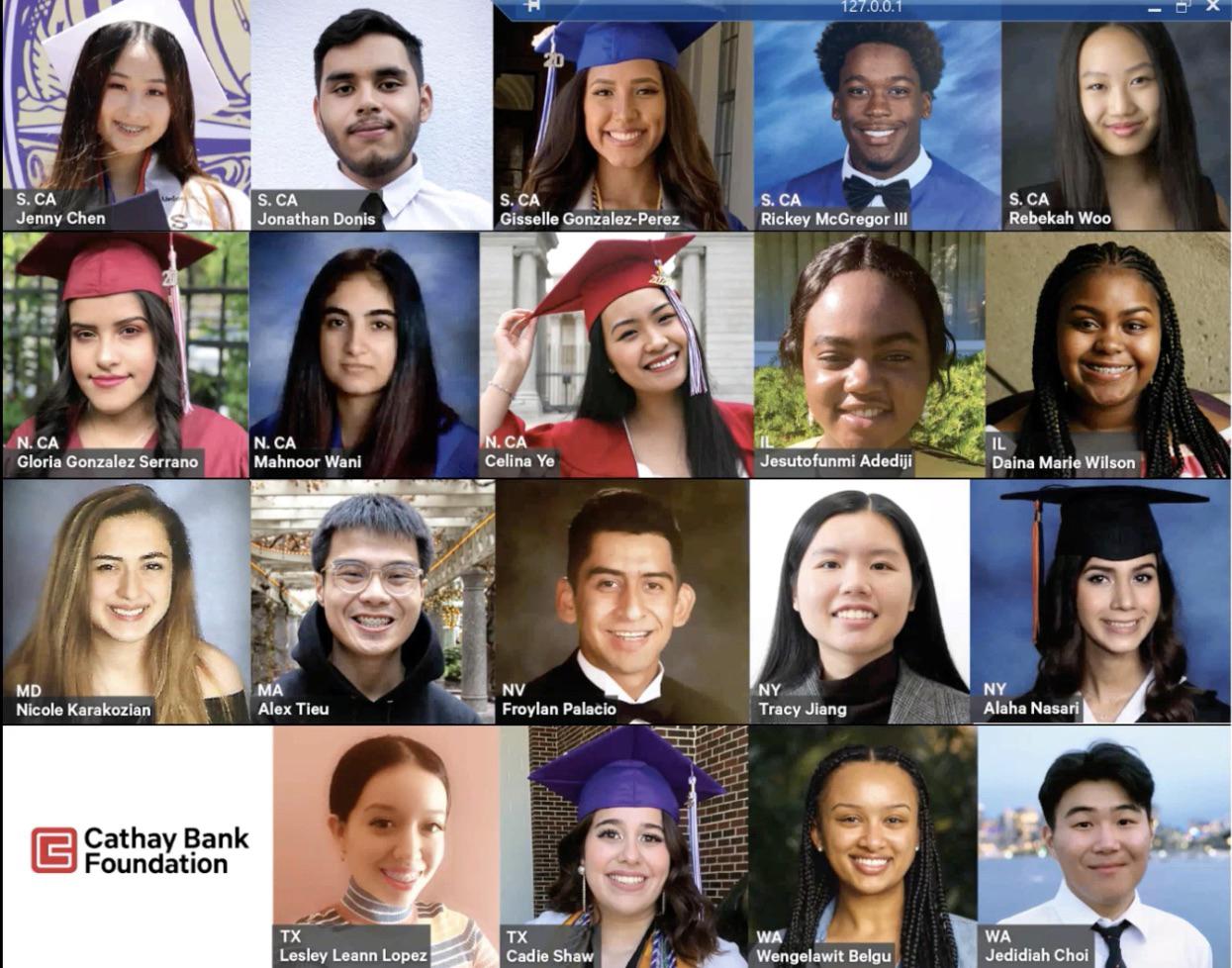 國泰銀行基金會為20名優秀學子頒發獎學金。頒獎典禮截圖