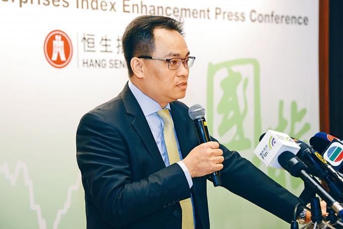 黃偉雄昨透露,正研究推出「港版納指」,冀可跟恒指一樣受歡迎。