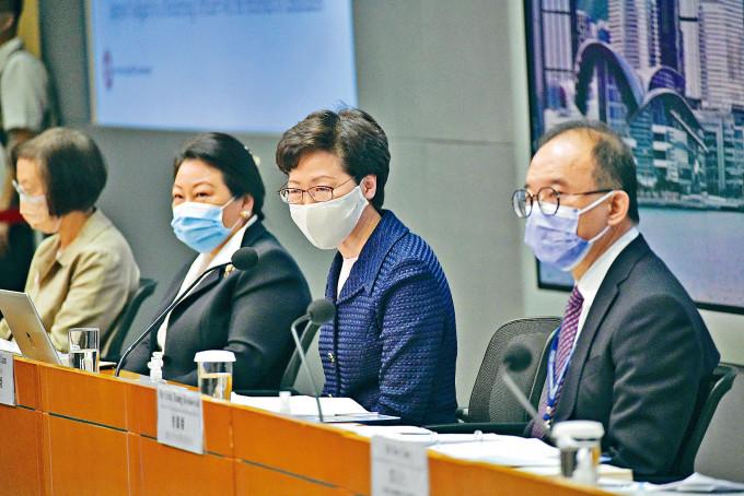 特首林鄭月娥昨在記者會上,交代應對新冠肺炎疫情下,押後立法會選舉。