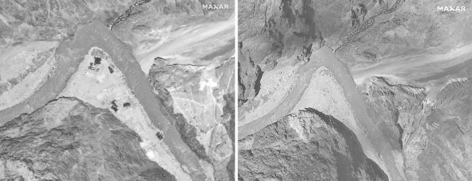 加勒萬河容的設施(圖左),均被中印雙方拆除(圖右)。
