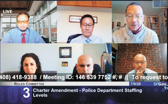 三藩市規則委員會審議市參事會主席余鼎昂(一排右一)提出的憲章修訂案,要求取消警員人數配備的最低限制,每兩年進行一次報告申請。記者徐明月截圖