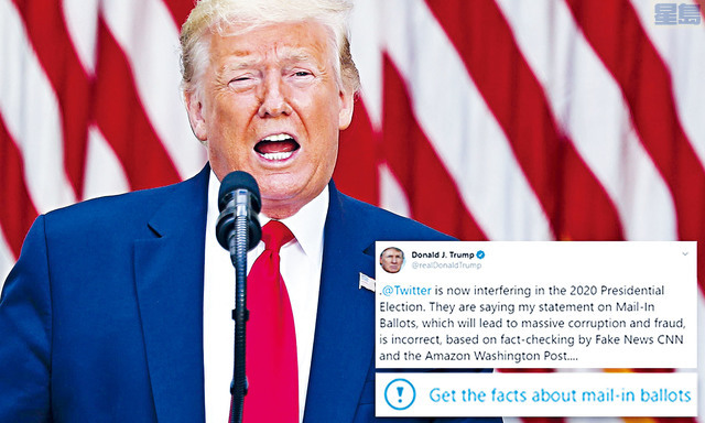 ■總統特朗普在社交網站指,假如全部以郵遞方式投票,會是歷來最不準確及舞弊的選舉,將會令美國極為難堪,反問是否應該推遲選舉。    設計圖片