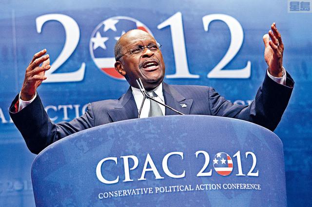 ■凱恩曾以非裔商人身分,曾參加2012年共和黨總統提名初選,並提出「9-9-9稅務方案」。    美聯社