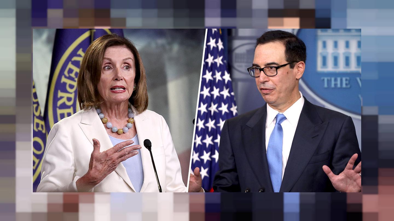 總統特朗普簽發的經濟紓緩措施行政令,被民主黨人眾議長普洛西(左)抨擊為違憲篡奪國會的撥款權,但財長努欽表示,那些措施已經由法律顧問辦公室審查通過。    合併圖片