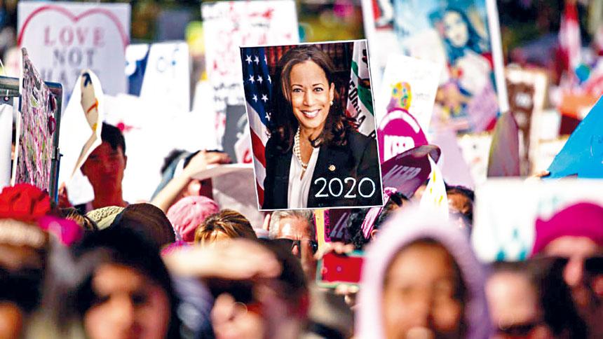 賀錦麗具非裔和印度裔血統,她成為美國總統大選史上,首位登上主要政黨候選人名單的少數族裔女性。    賀錦麗選舉網頁圖片