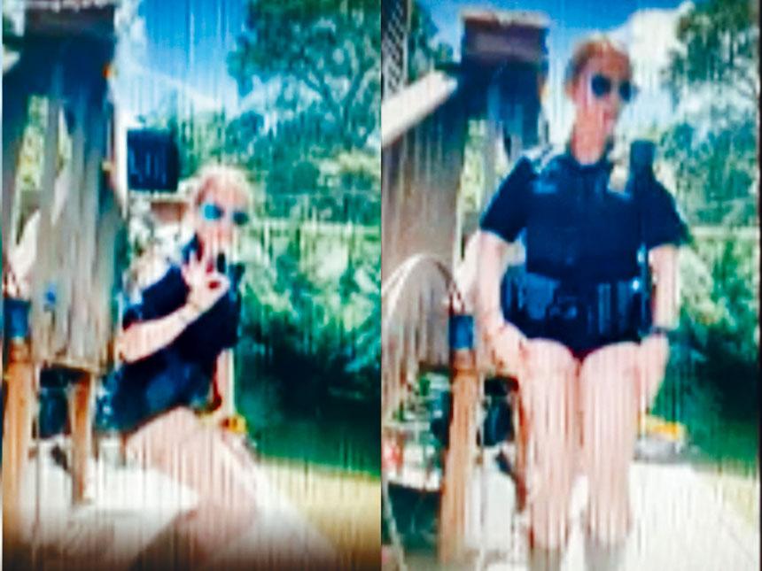 女警加爾加諾上半身穿著警察制服,下半身則是熱褲和牛仔靴。視頻截圖