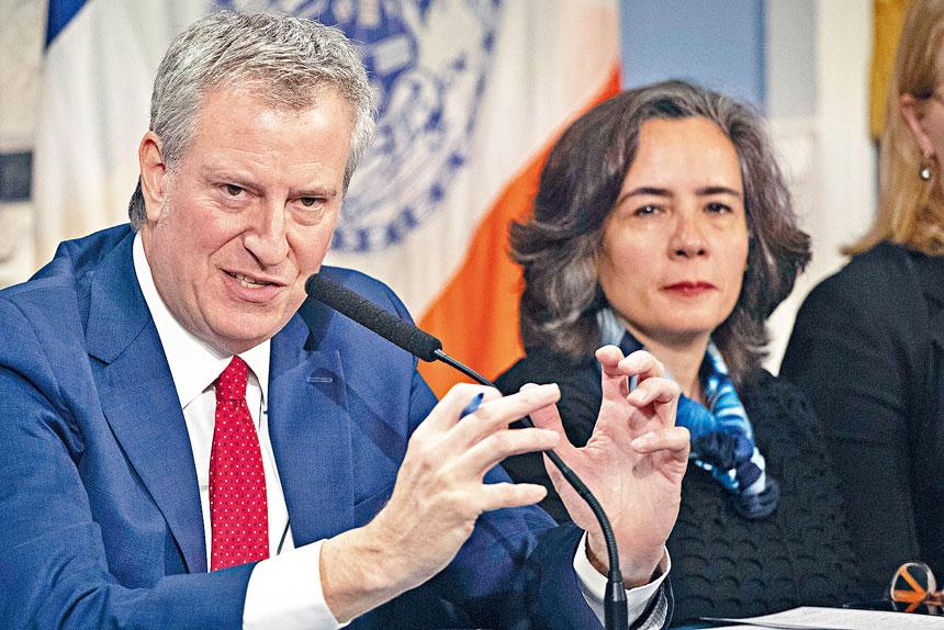 ■白思豪強調,紐約市不會根據少數富人作出決定。美聯社