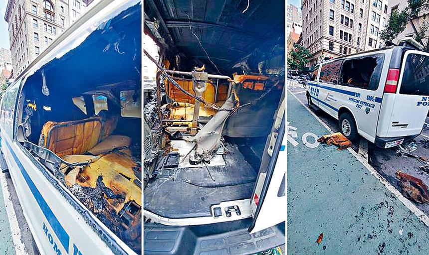進行遊民外展工作的警車被人嚴重燒毀。紐約市警務處圖片