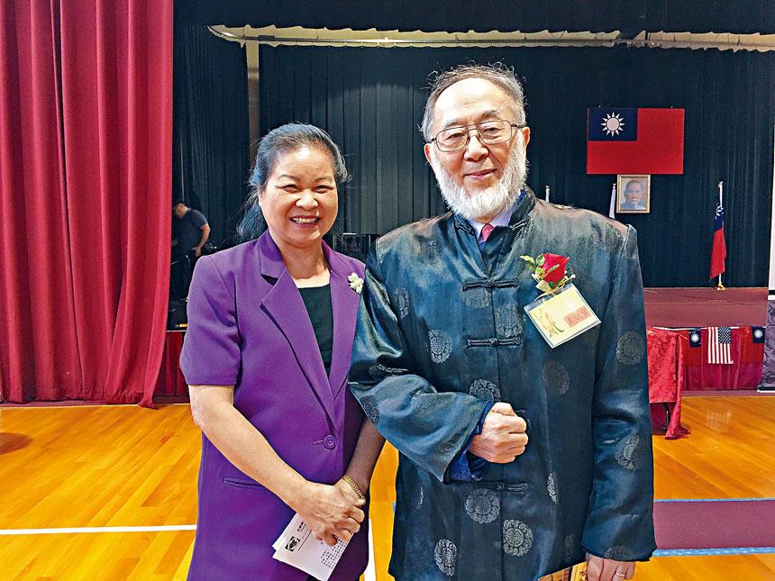 黃秉乾院士與陳惠青女士合影於2018年祭孔大典現場。