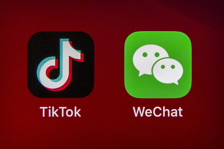 是否能繼續使用Tik Tok或微信兩款應用軟件,使用者密切關注。美聯社