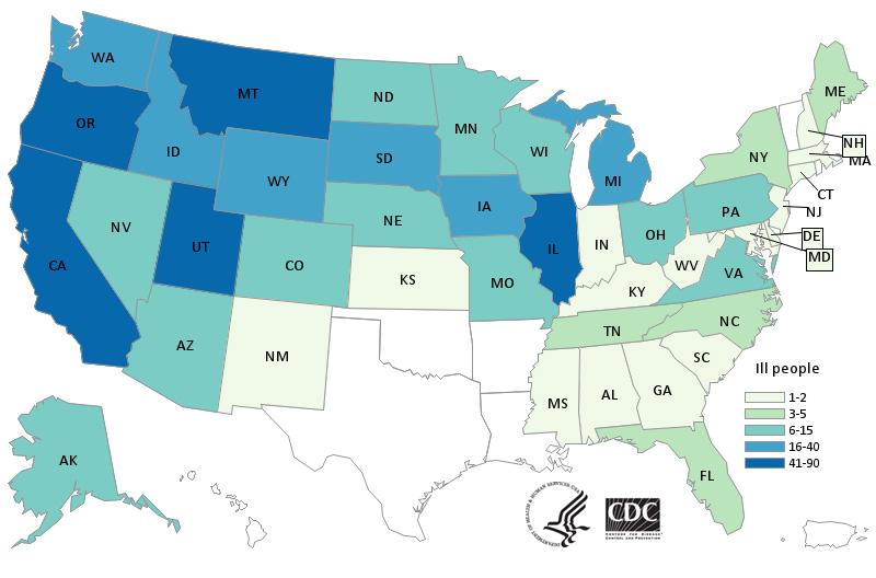 全美爆發洋蔥有關沙門氏菌疫情表。CDC