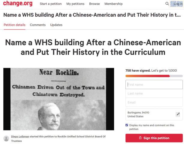 威特尼高中畢業生利伯曼發起請願,呼籲推動亞裔研究為必修課,並將校內一座建築以華裔人士命名。