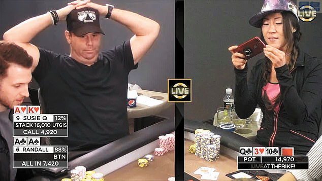 圖為華裔職業撲克玩家趙茜生前在撲克大賽中拍攝的照片。每日郵報圖片