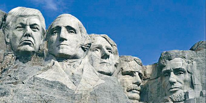 特朗普一群支持者創造的圖像,顯示總統山鑿出特朗普的大頭。 互聯網設計圖
