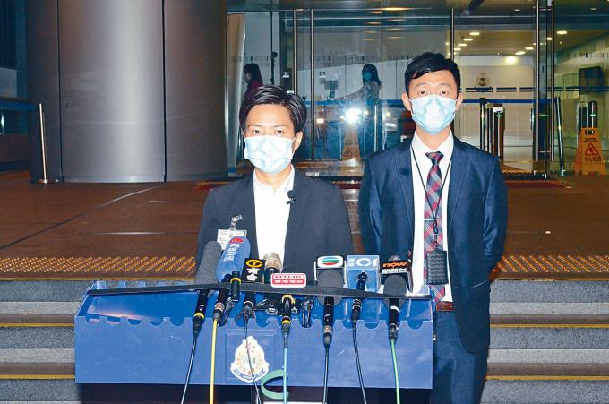 總督察鄧凱彤(左)指被捕四人涉發放高利貸及洗黑錢。