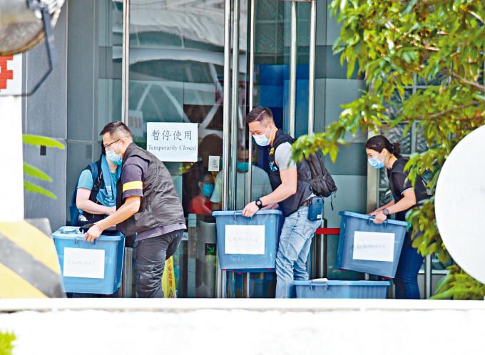 警方本周一在將軍澳壹傳媒大樓搜查,檢走約二十五箱證物調查。