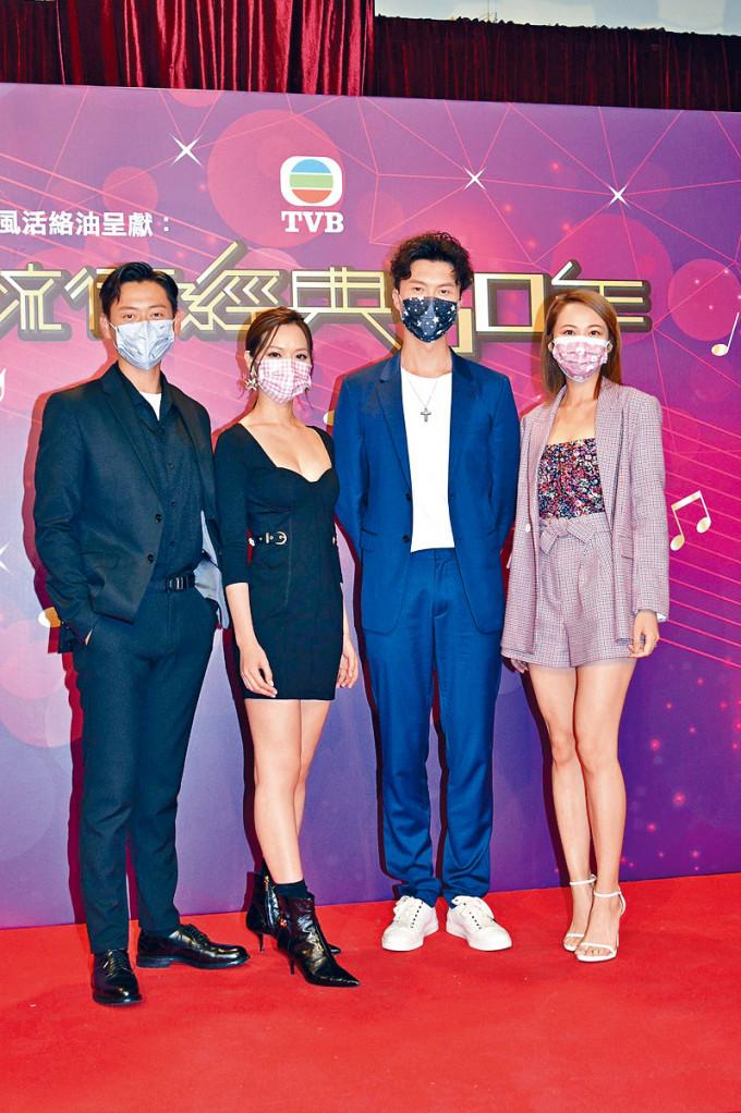 湯怡(右)大爆與王浩信咀了幾次。
