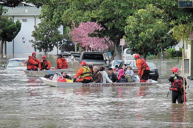 聖縣水利局提公投延長稅,以防2017年聖荷西水災再度發生。資料圖片/記者王慶偉攝