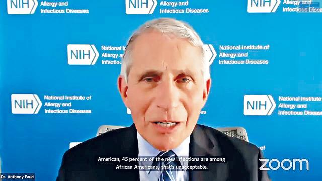 福西警告,未來獲准採用的新冠病毒疫苗,可能只有60%實際功效。     布朗大學圖片