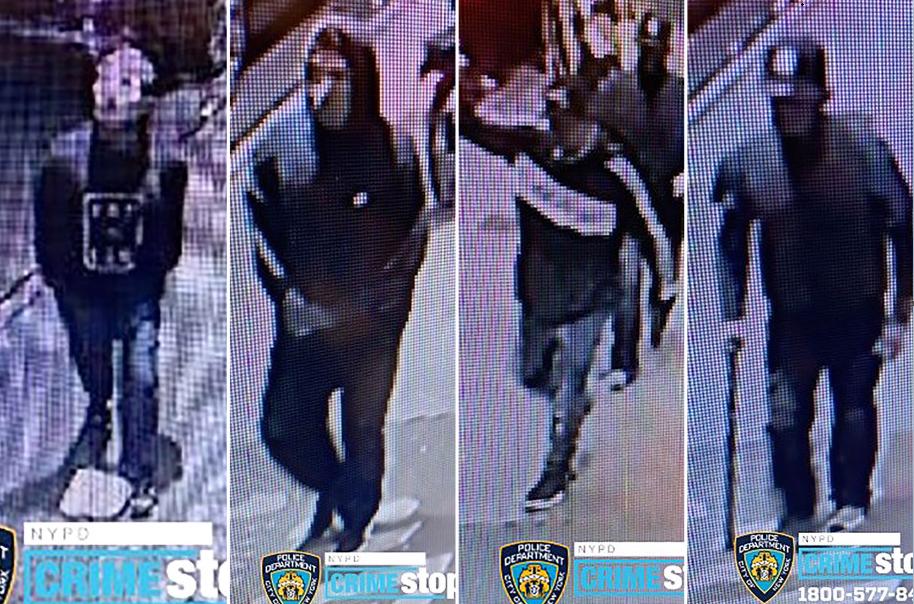 警方發布閉路電視畫面,通緝4名涉案男子。 DCPI圖片