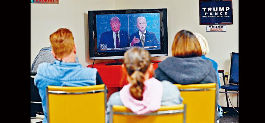 總統大選首場電視辯論,29日晚在俄亥俄州克利夫蘭舉行,調查顯示,有7300萬觀眾通過電視收看辯論,遜於2016年首場辯論。    法新社