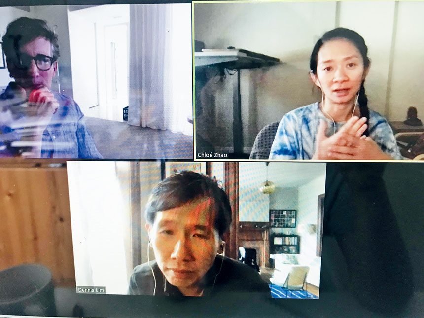 「無依之地」導演趙婷、製片Peter Spears及林肯中心電影協會Dennis Lim 線上對談。