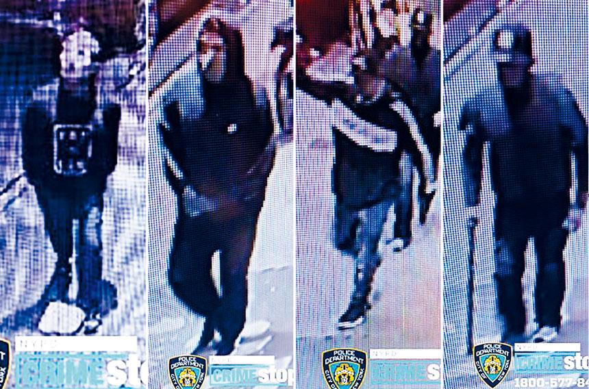 警方發布閉路電視畫面,通緝4名涉案男子。DCPI圖片