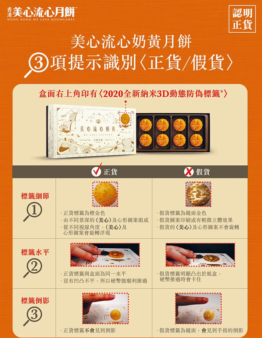 香港美心流心奶黃月餅廣受美東僑胞歡迎,近日有不法分子將偽造的美心流心奶黃月餅推出市場,企圖魚目混珠,美心月餅美東經銷商長年大富公司特別刊登廣告,教導僑胞如何辨識。