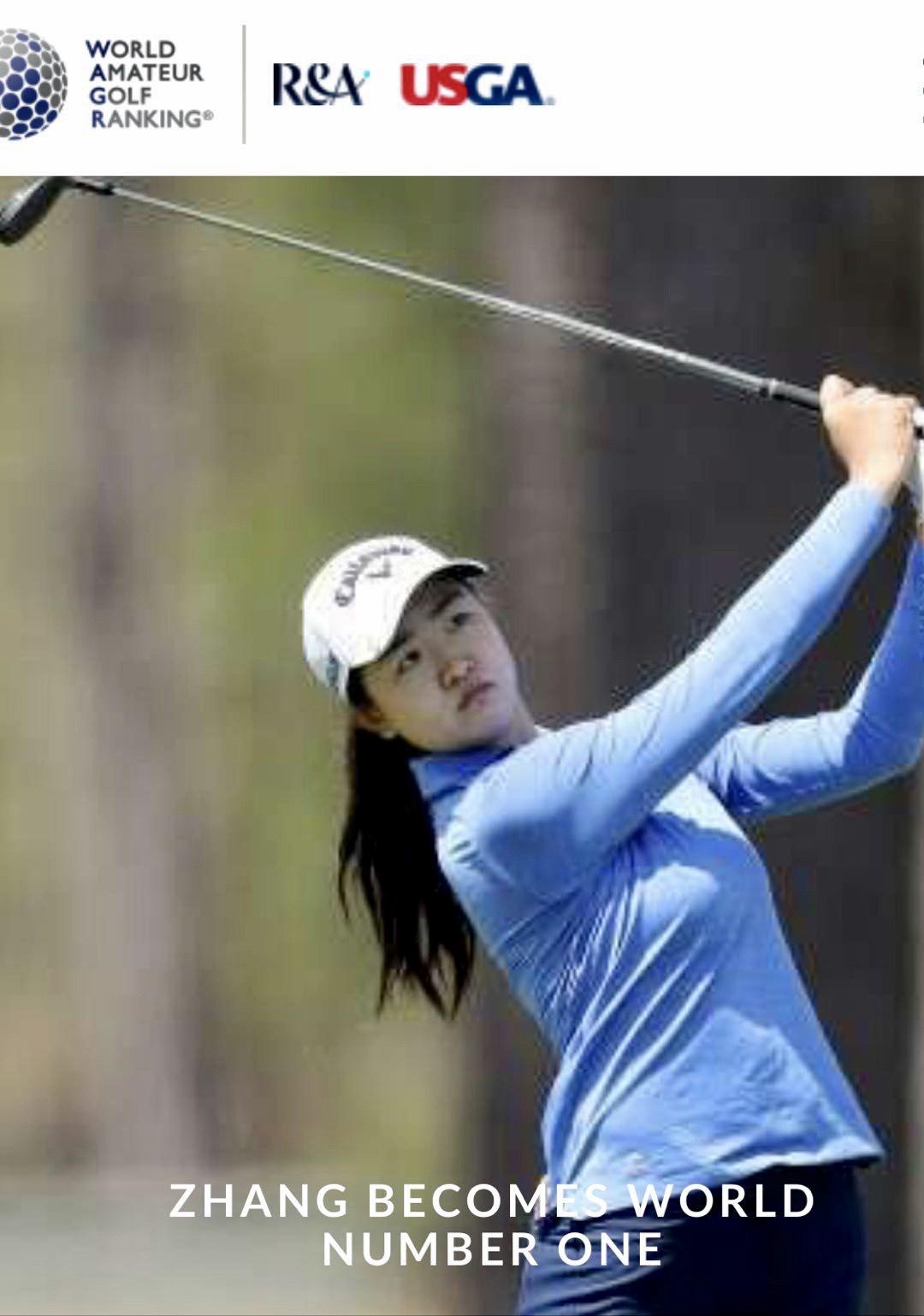 17歲的張斯洋在最新一期世界女子業餘高爾夫球選手排名第一。WAGR截圖