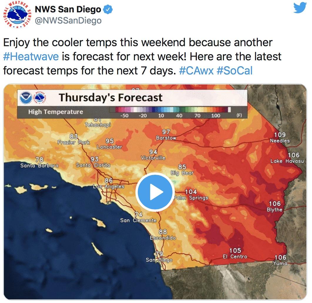 南加州本週末開始將迎來破百高溫。社交網站截圖