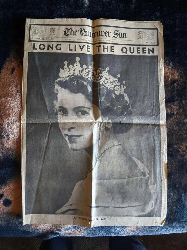 網友翻出女王登基時的報道。網絡截圖