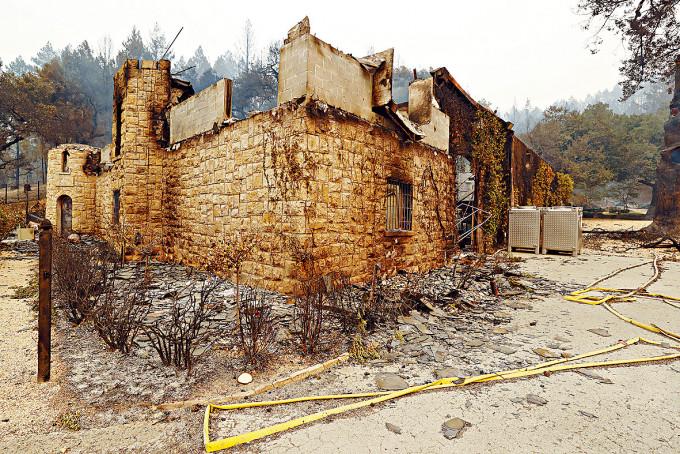 加州聖海倫娜的博斯維酒莊,遭山火燒毀。