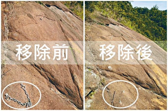 警方為攀山者安全,早前移除山嶺岩壁上的人工錨點。