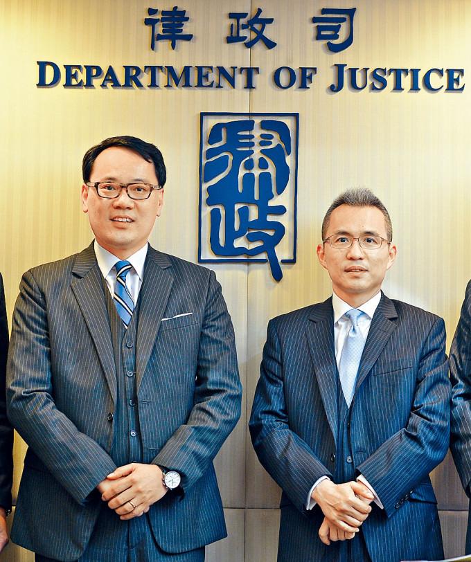副刑事檢控專員譚耀豪(左)及刑事檢控專員梁卓然(右)。