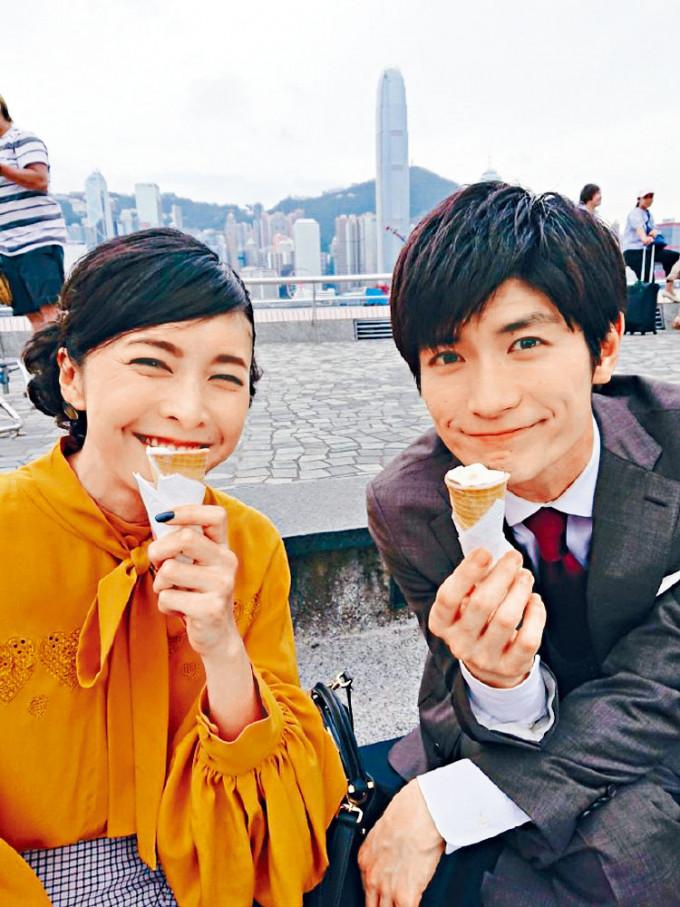 竹內結子曾與自殺去世的三浦春馬來港拍戲,二人開心在尖沙嘴食雪糕。