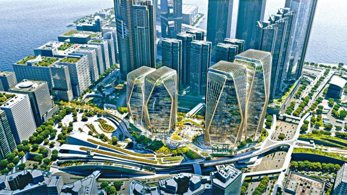 新地提出發展新方案,將建兩幢「鑽石形」商廈。