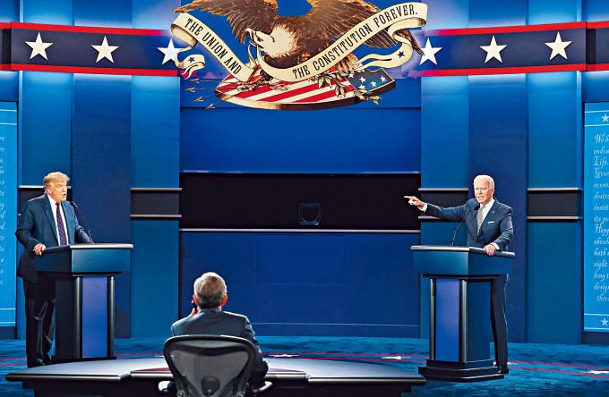 特朗普與拜登在辯論會上舌劍唇槍。