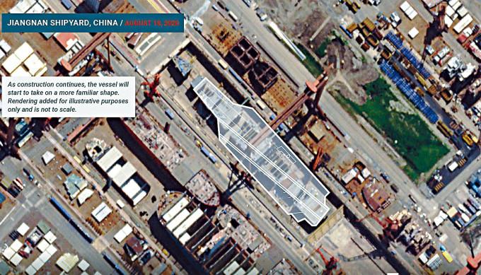 美國星拍攝到中國建造航母進展順利。