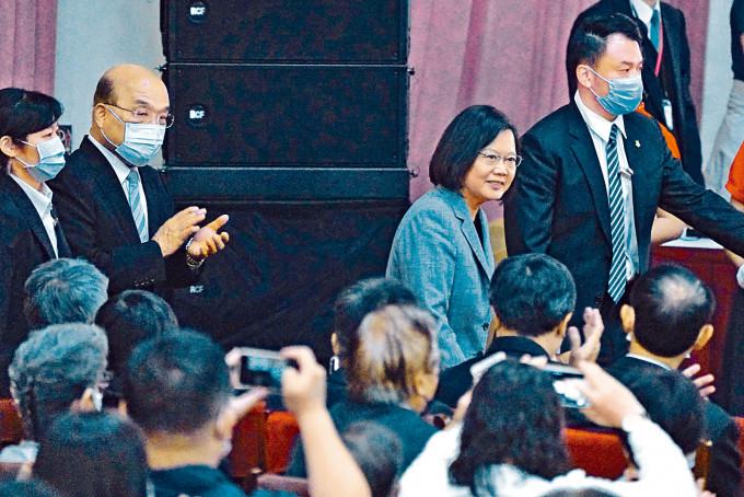 蔡英文昨天出席教師表揚大會。