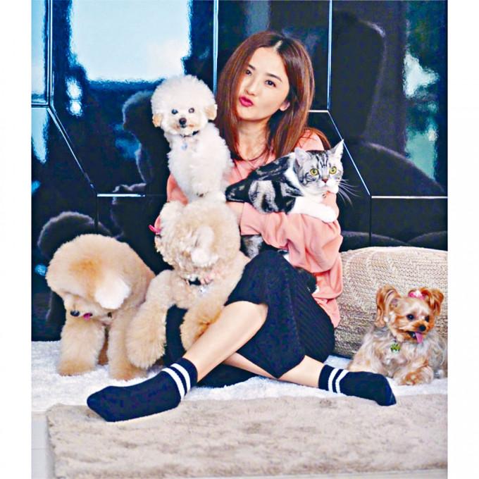 阿Sa中秋沒有男友在身邊,有愛犬愛貓相伴也開心!