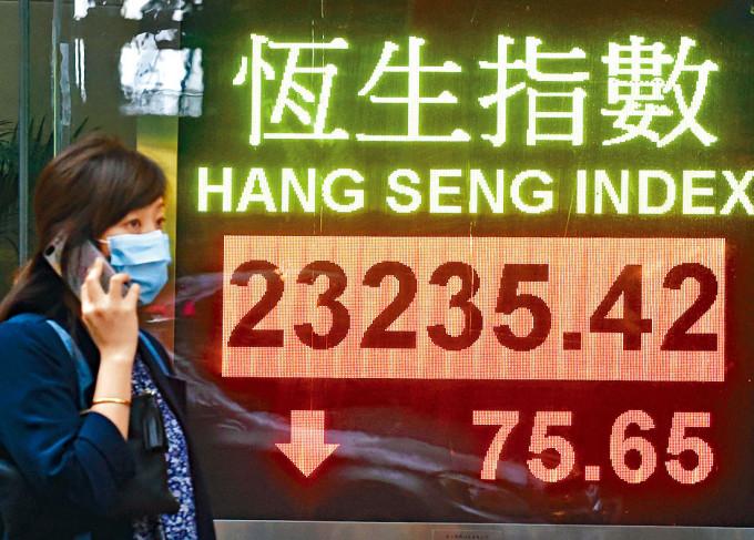 港股昨受內房及科技股偏軟影響下,跌75點。