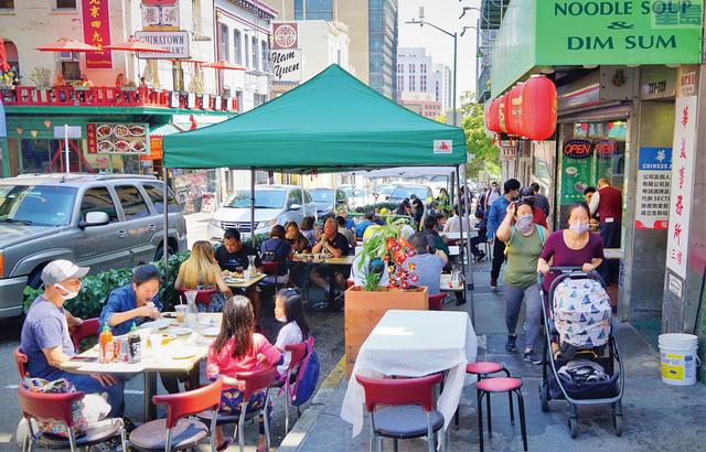 三藩市進一步重啟,餐館可有限度提供堂食。本報資料圖片