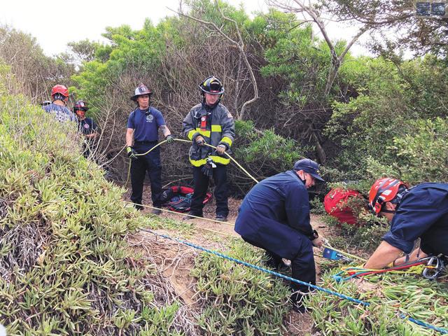 一名父親帶著幼小孩子外出散步,結果被困崖下,最後由消防人員救走。三藩市消防局/ABC電視台