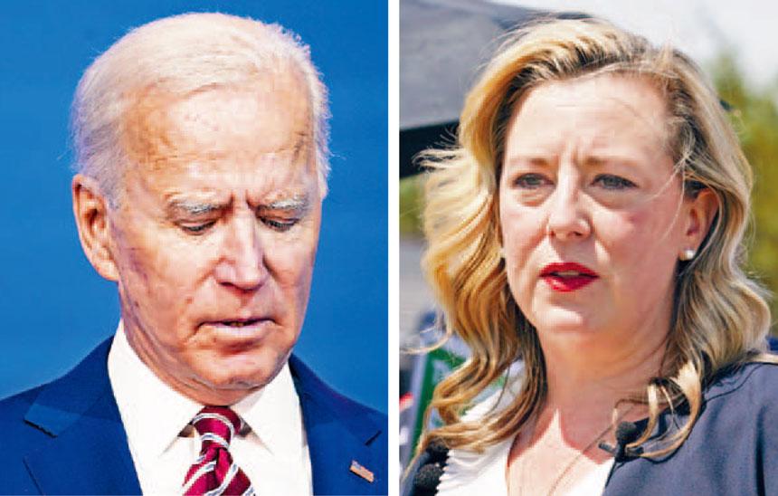 拜登在辯論時表示支持美國將石化燃料逐步轉型為可再生能源的說法,令包括俄克拉荷馬州眾議員霍爾恩(右)的幾名民主黨人,馬上公開與他割席。美聯社/法新社