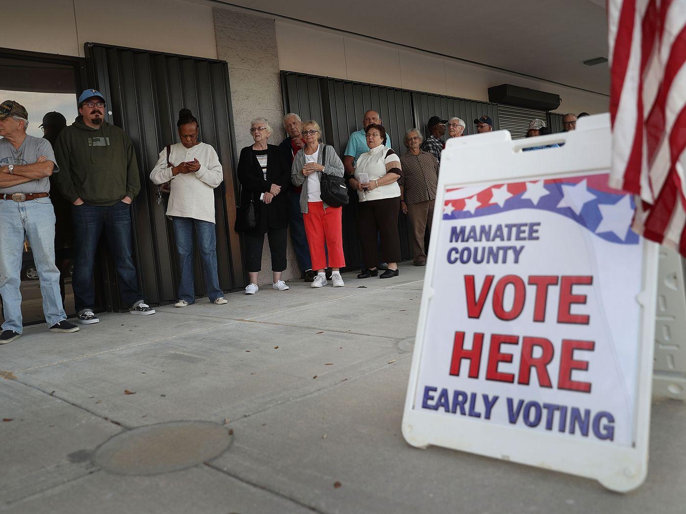 ■全美不少城市提前投票站出現人龍。