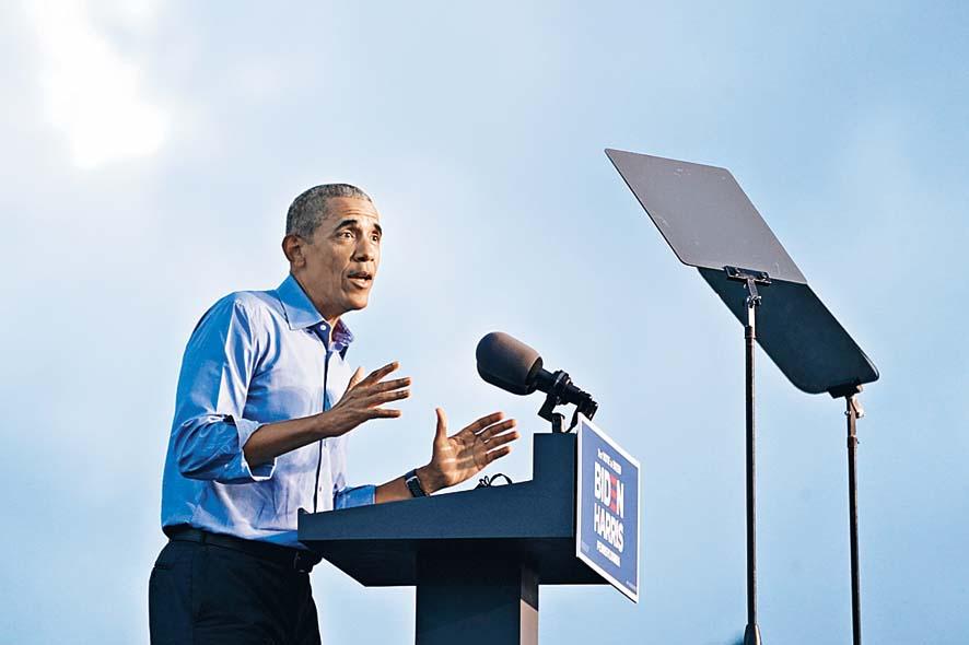 前總統奧巴馬周三在費城為拜登造勢。