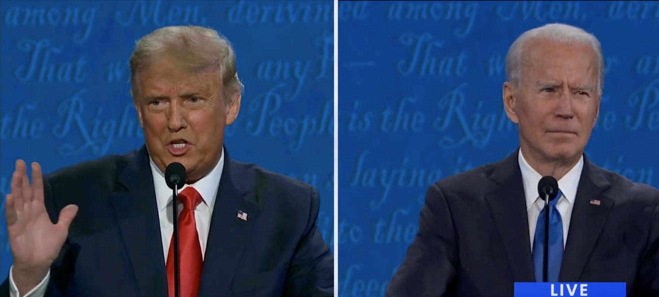 大選前最後一場總統辯論。截屏