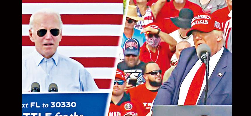 今年大選,搖擺州再次成為左右競選勝負的關鍵。特朗普及拜登29日不約而同都前往佛羅里達州拉票。 電視屏幕截圖