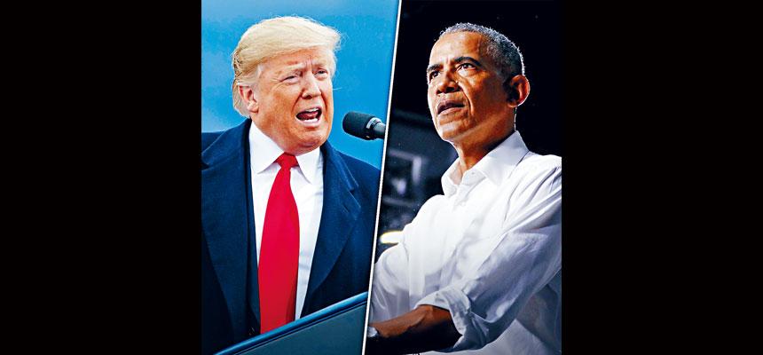 前總統奧巴馬在佛州出席宣傳活動再為昔日拍檔拜登造勢,抨擊總統特朗普抗疫不力。對於奧巴馬的演說,特朗普稱已收看,揶揄該活動沒有群眾支持。    電視屏幕截圖