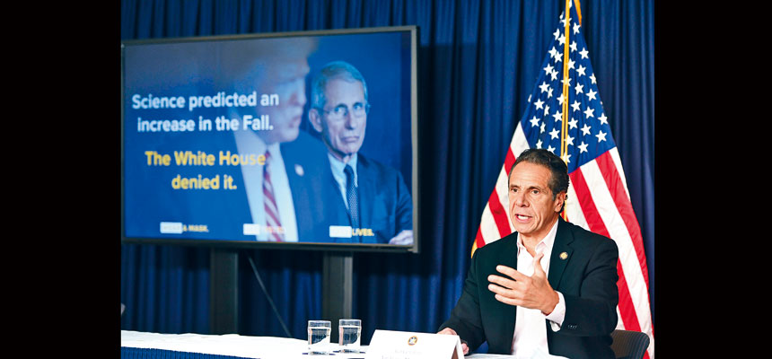柯謨批評白宮的說法無異於「不戰而降」。州長辦公室Flickr圖片